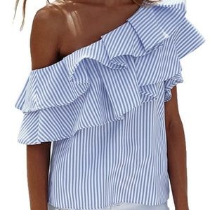 Blue Ruffle Striped Off the Shoulder Top